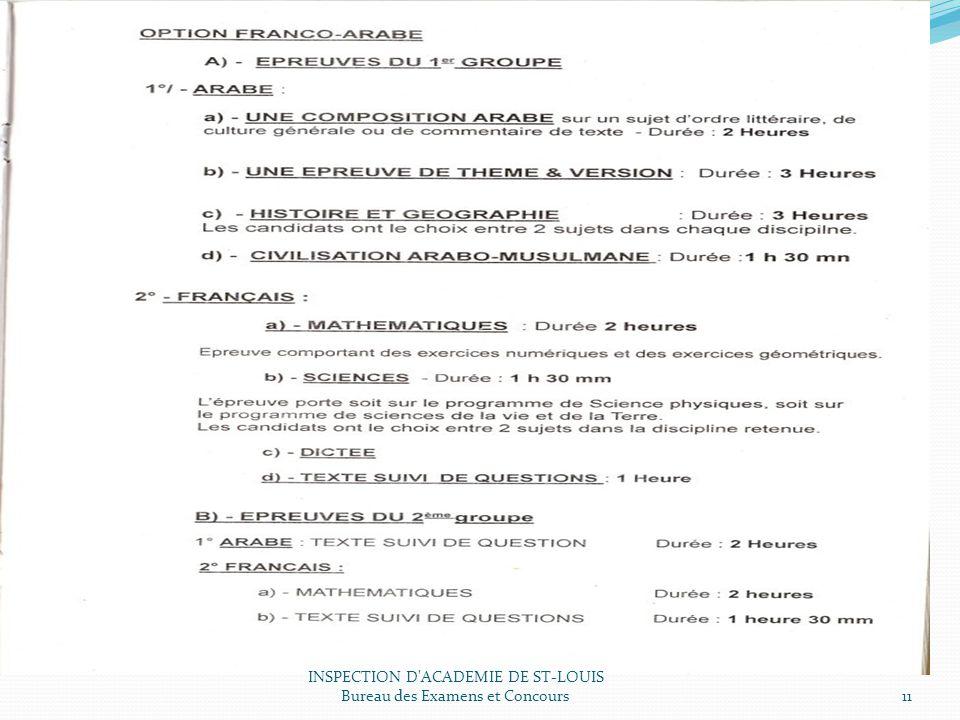 INSPECTION D ACADEMIE DE ST-LOUIS Bureau des Examens et Concours11
