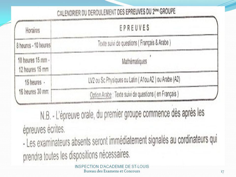 INSPECTION D ACADEMIE DE ST-LOUIS Bureau des Examens et Concours17
