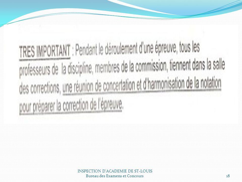 INSPECTION D ACADEMIE DE ST-LOUIS Bureau des Examens et Concours18