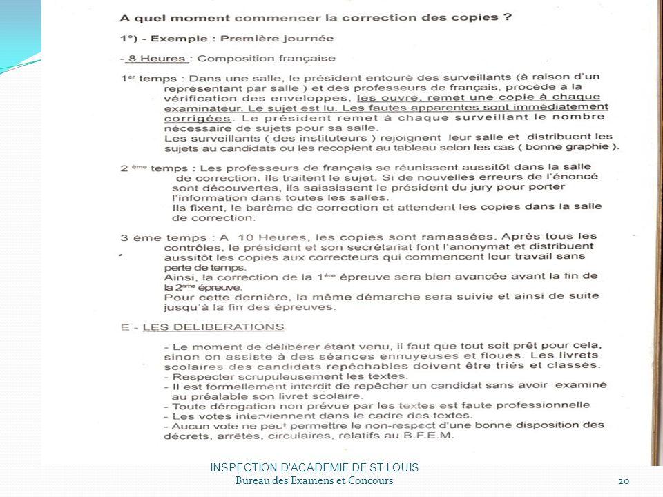 INSPECTION D ACADEMIE DE ST-LOUIS Bureau des Examens et Concours20