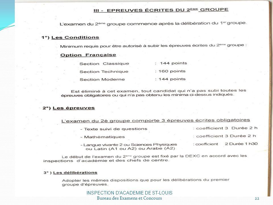 INSPECTION D ACADEMIE DE ST-LOUIS Bureau des Examens et Concours22
