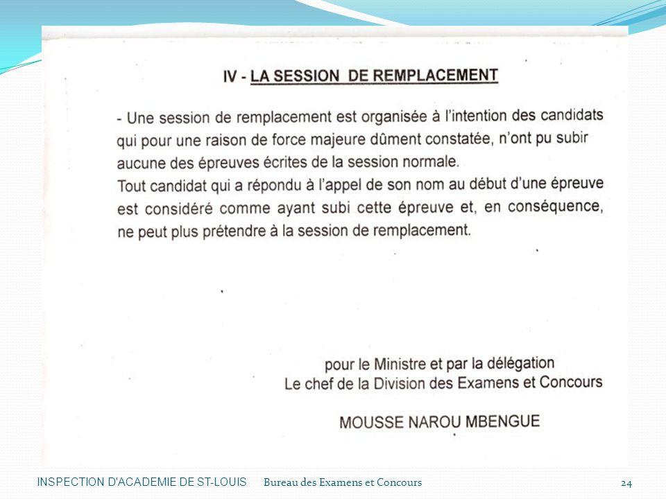 INSPECTION D ACADEMIE DE ST-LOUIS Bureau des Examens et Concours24
