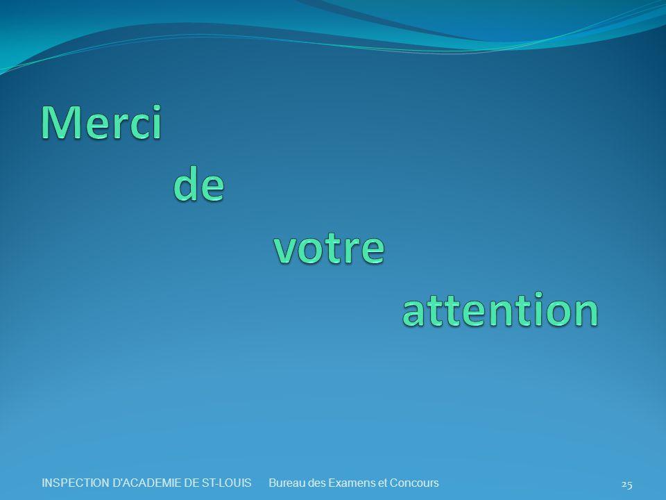 INSPECTION D ACADEMIE DE ST-LOUIS Bureau des Examens et Concours 25