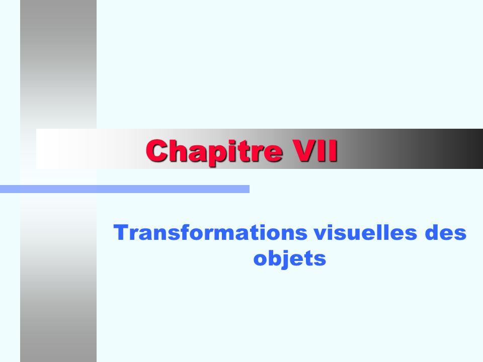 Chapitre VII Transformations visuelles des objets