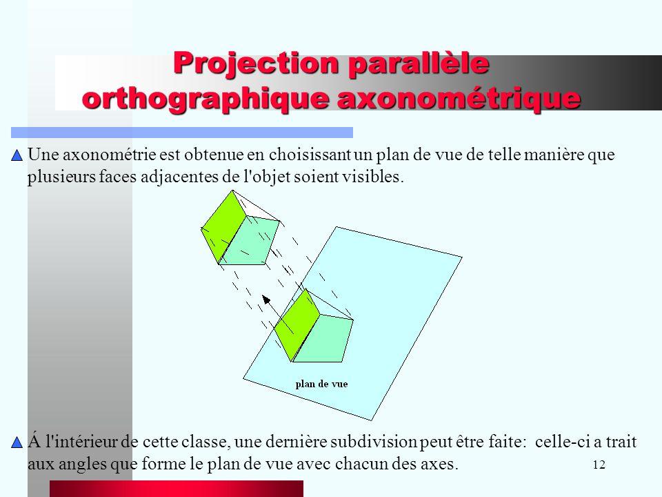 12 Projection parallèle orthographique axonométrique Une axonométrie est obtenue en choisissant un plan de vue de telle manière que plusieurs faces ad