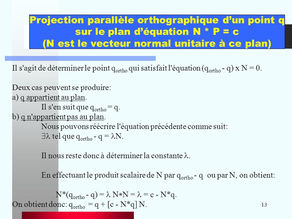 13 Il s'agit de déterminer le point q ortho qui satisfait l'équation (q ortho - q) x N = 0. Deux cas peuvent se produire: a) q appartient au plan. Il
