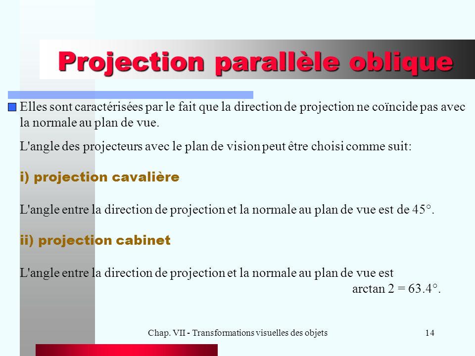 Chap. VII - Transformations visuelles des objets14 Projection parallèle oblique Elles sont caractérisées par le fait que la direction de projection ne