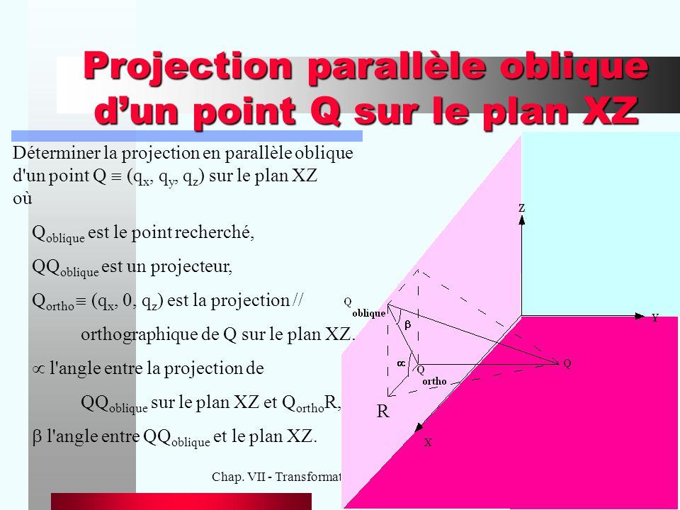 Chap. VII - Transformations visuelles des objets15 Projection parallèle oblique d'un point Q sur le plan XZ Déterminer la projection en parallèle obli