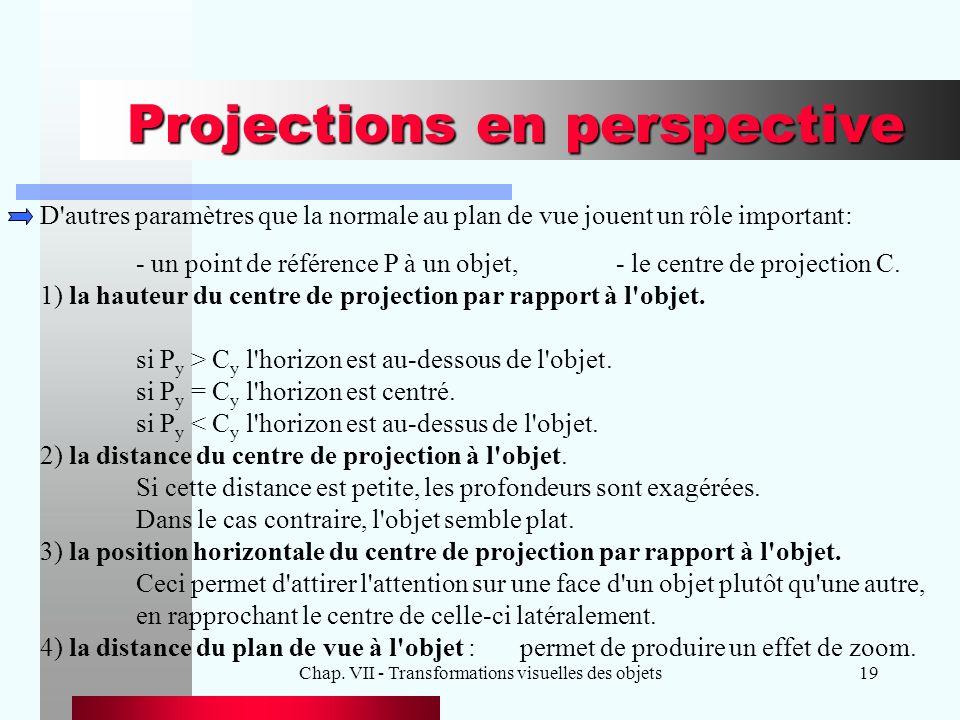 Chap. VII - Transformations visuelles des objets19 Projections en perspective D'autres paramètres que la normale au plan de vue jouent un rôle importa