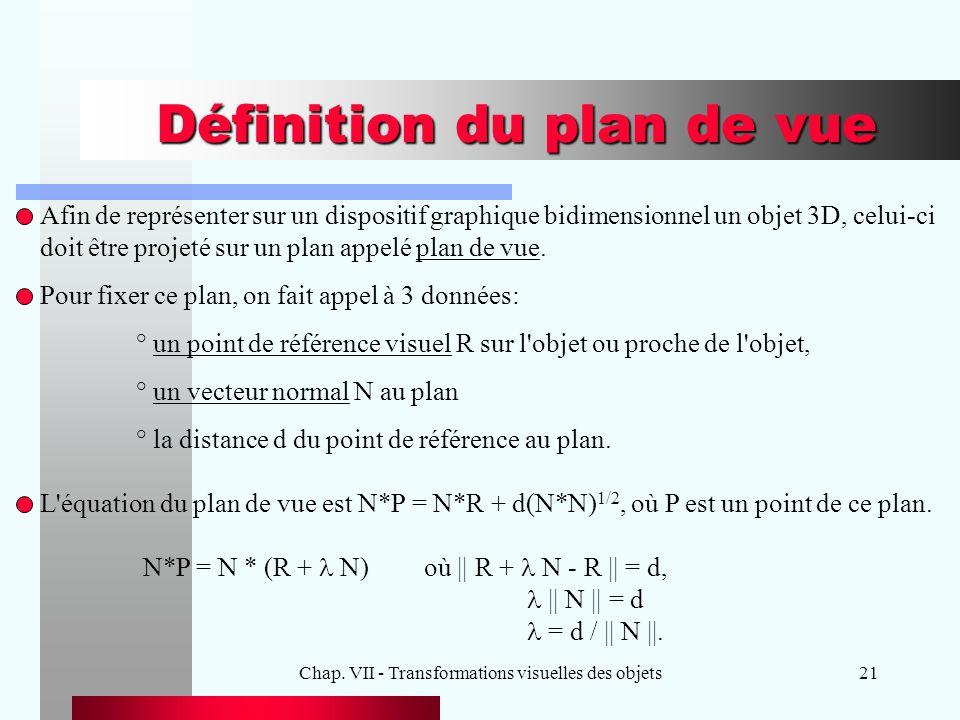 Chap. VII - Transformations visuelles des objets21 Définition du plan de vue Afin de représenter sur un dispositif graphique bidimensionnel un objet 3