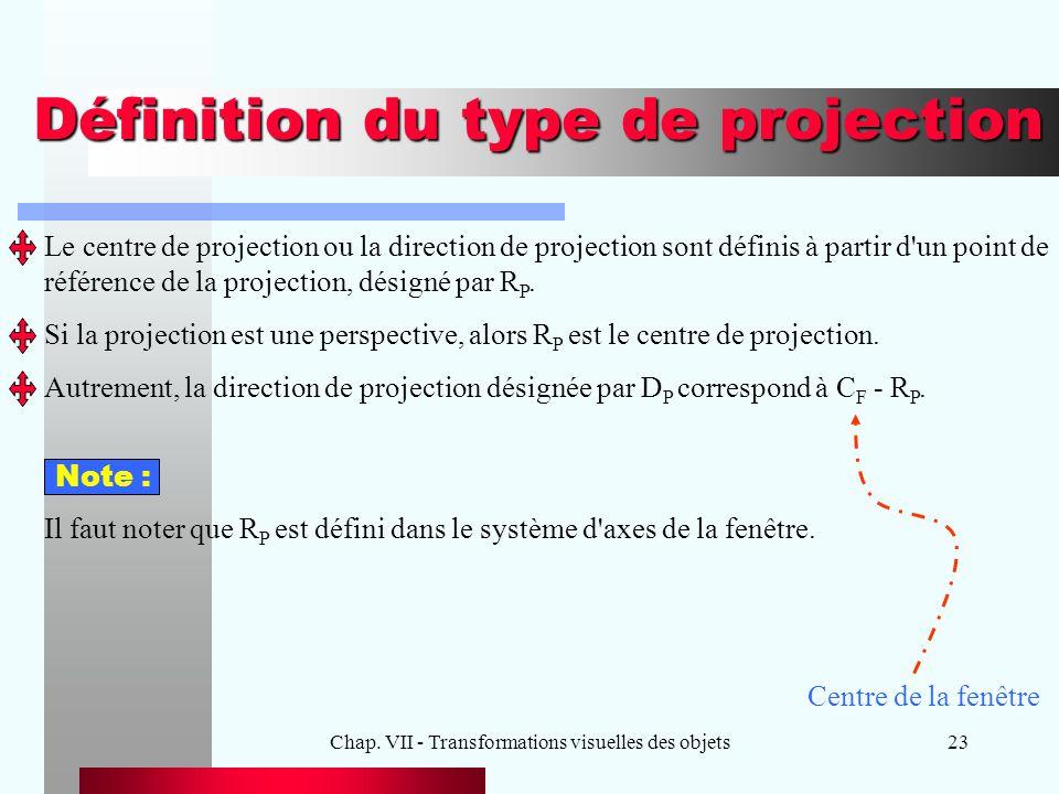 Chap. VII - Transformations visuelles des objets23 Définition du type de projection Le centre de projection ou la direction de projection sont définis