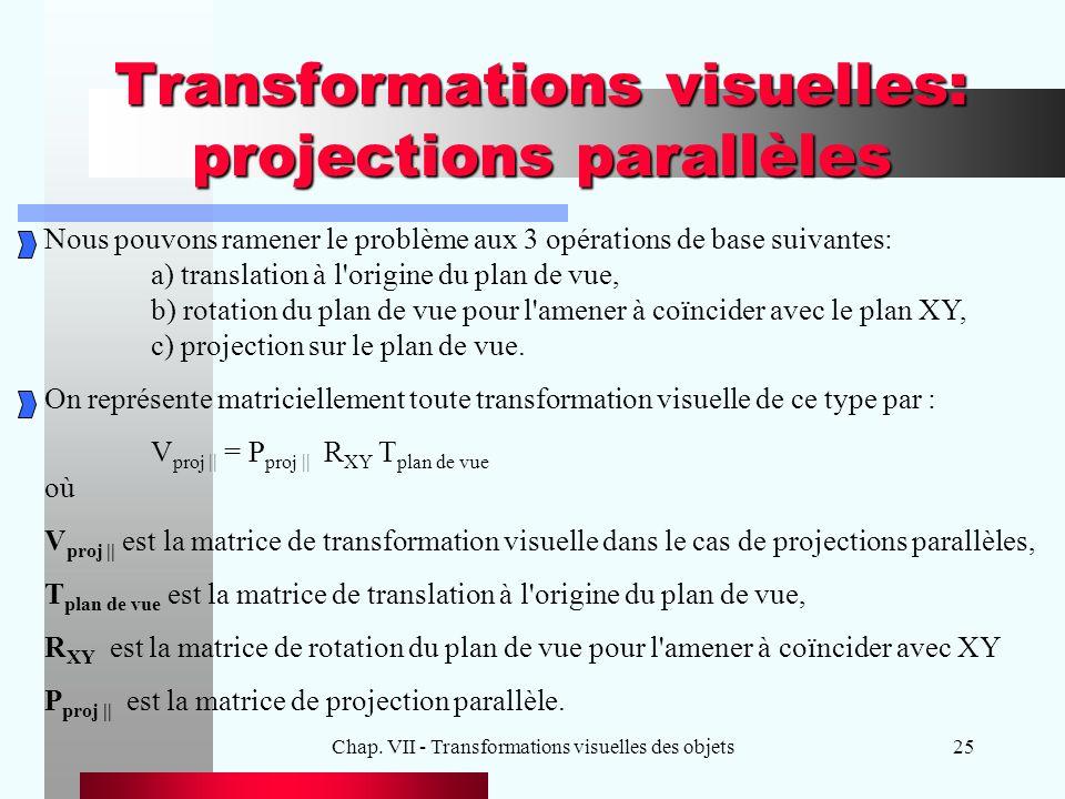 Chap. VII - Transformations visuelles des objets25 Transformations visuelles: projections parallèles Nous pouvons ramener le problème aux 3 opérations