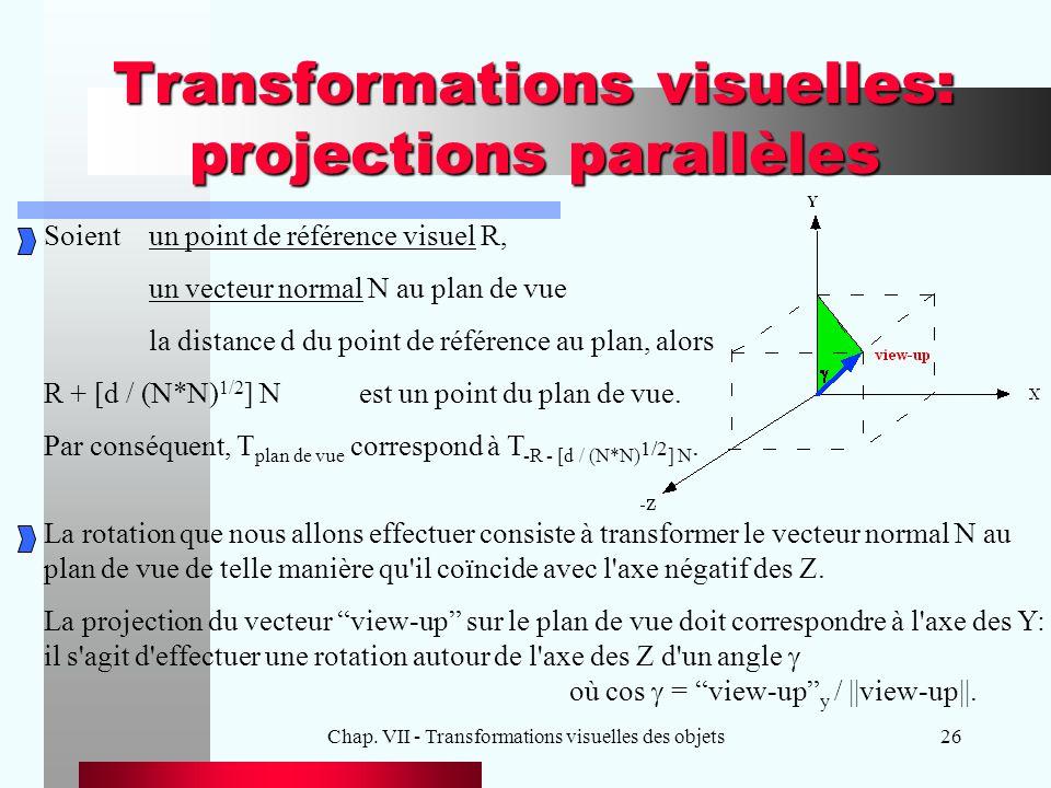 Chap. VII - Transformations visuelles des objets26 Transformations visuelles: projections parallèles Soientun point de référence visuel R, un vecteur