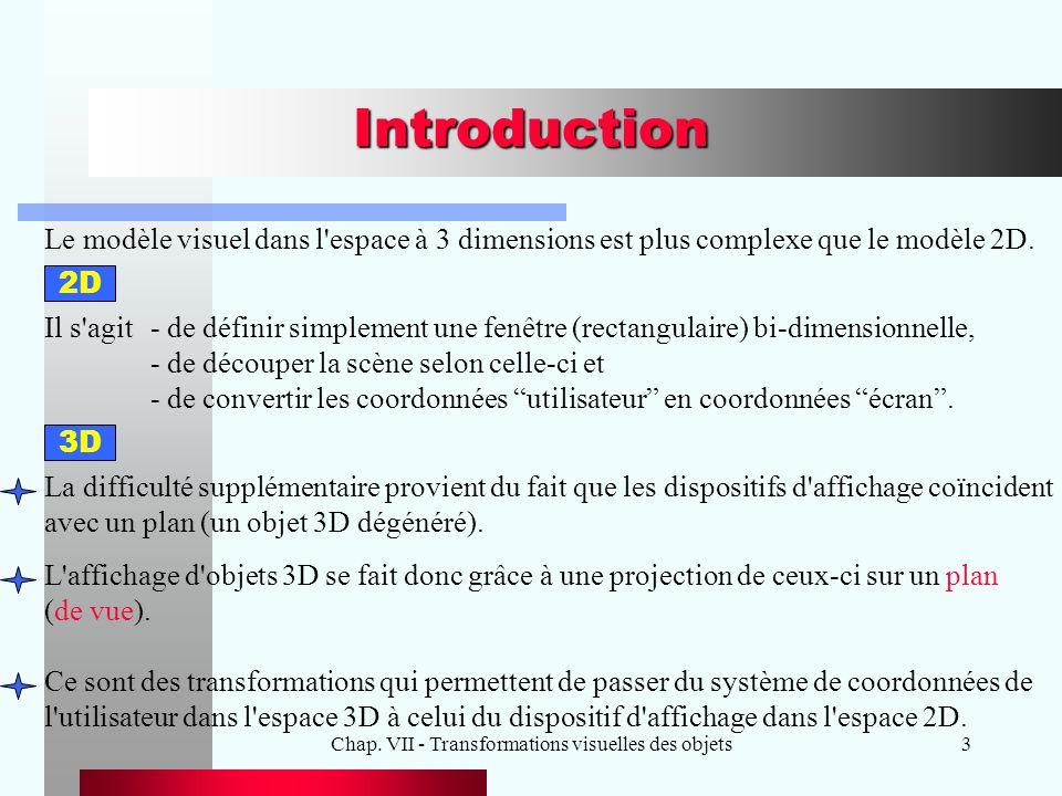 Chap. VII - Transformations visuelles des objets3 Introduction Le modèle visuel dans l'espace à 3 dimensions est plus complexe que le modèle 2D. Il s'