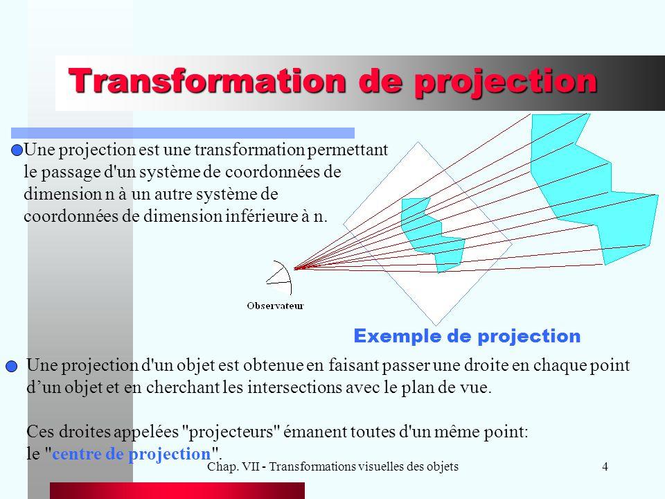Chap. VII - Transformations visuelles des objets4 Transformation de projection Exemple de projection Une projection d'un objet est obtenue en faisant