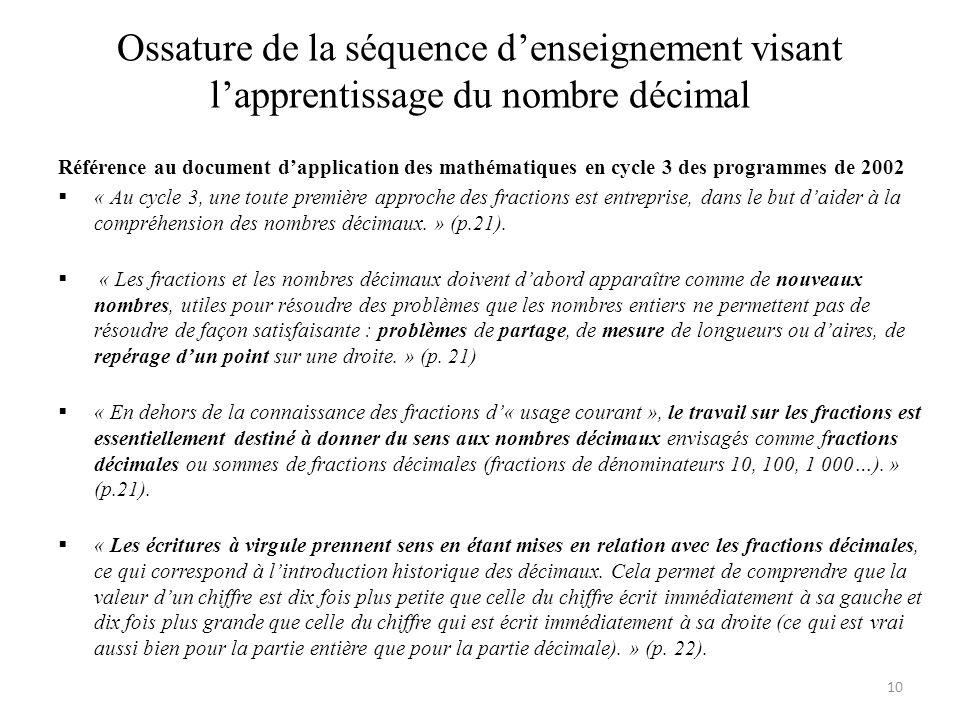 Ossature de la séquence d'enseignement visant l'apprentissage du nombre décimal Référence au document d'application des mathématiques en cycle 3 des p