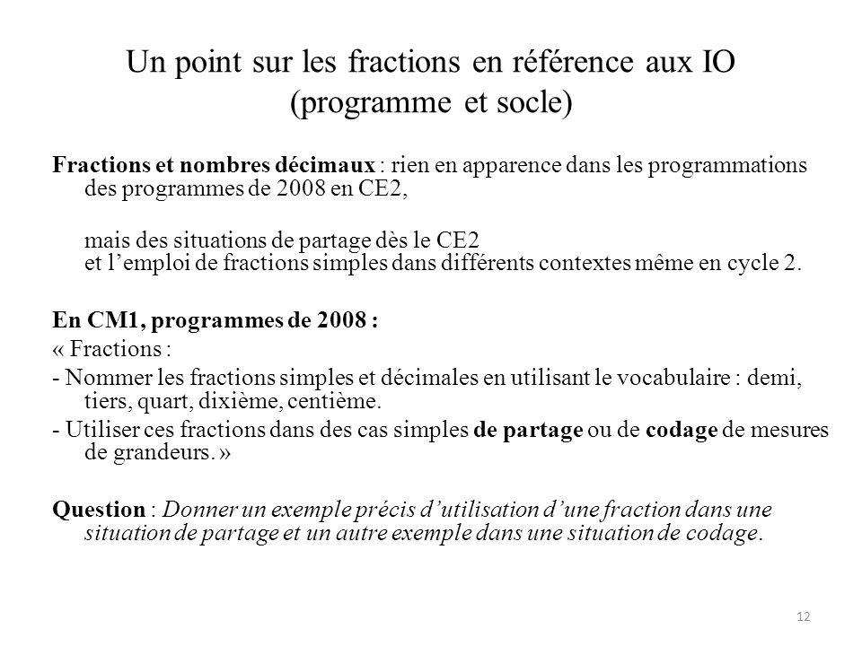 Un point sur les fractions en référence aux IO (programme et socle) Fractions et nombres décimaux : rien en apparence dans les programmations des prog