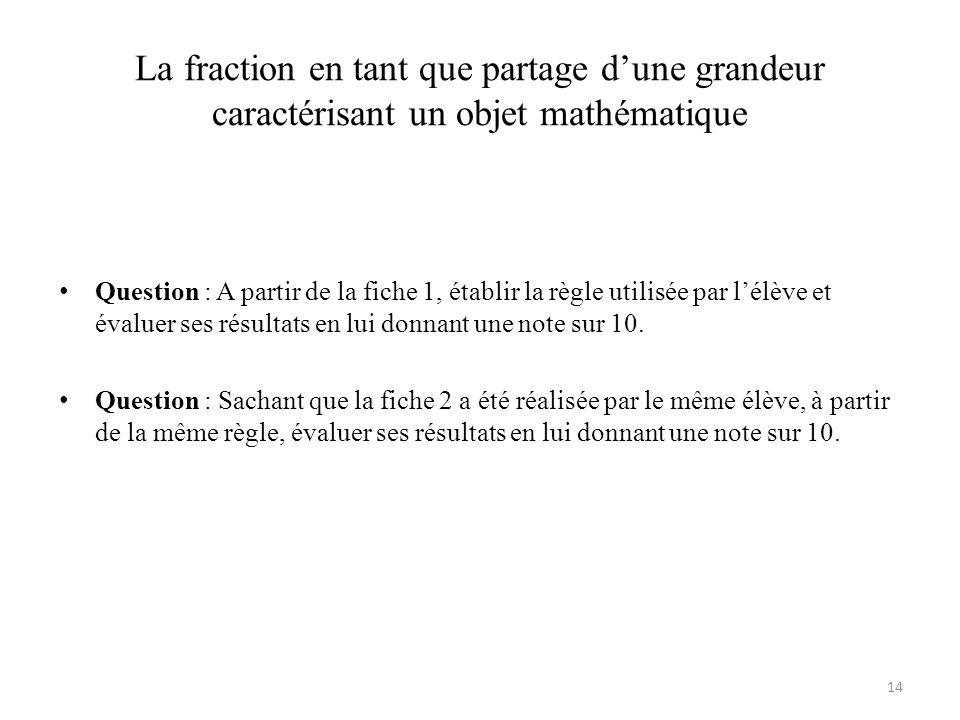La fraction en tant que partage d'une grandeur caractérisant un objet mathématique • Question : A partir de la fiche 1, établir la règle utilisée par