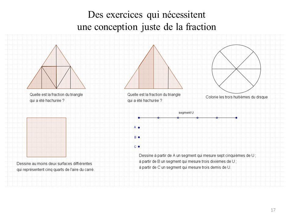 Des exercices qui nécessitent une conception juste de la fraction 17
