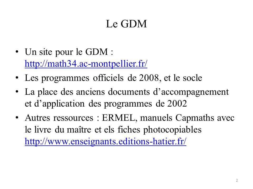 Le GDM • Un site pour le GDM : http://math34.ac-montpellier.fr/ http://math34.ac-montpellier.fr/ • Les programmes officiels de 2008, et le socle • La