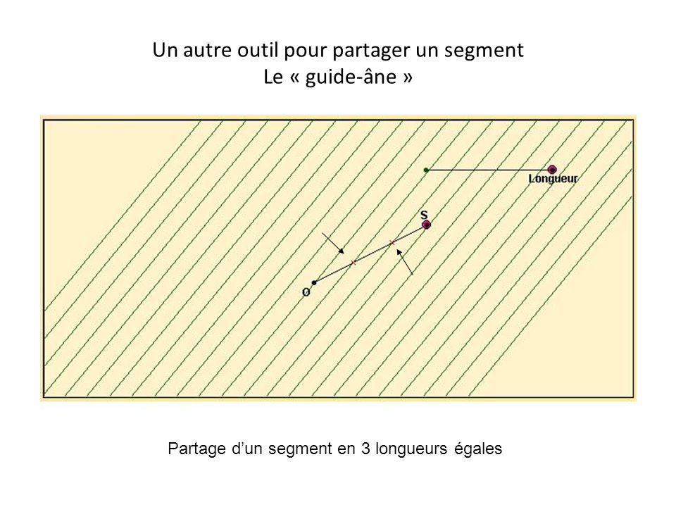 Un autre outil pour partager un segment Le « guide-âne » • Partage d'un segment en 3 Partage d'un segment en 3 longueurs égales