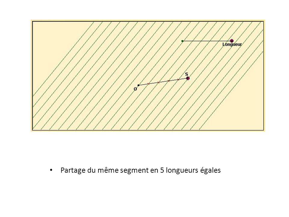 • Partage du même segment en 5 longueurs égales