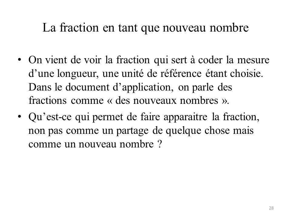 La fraction en tant que nouveau nombre • On vient de voir la fraction qui sert à coder la mesure d'une longueur, une unité de référence étant choisie.