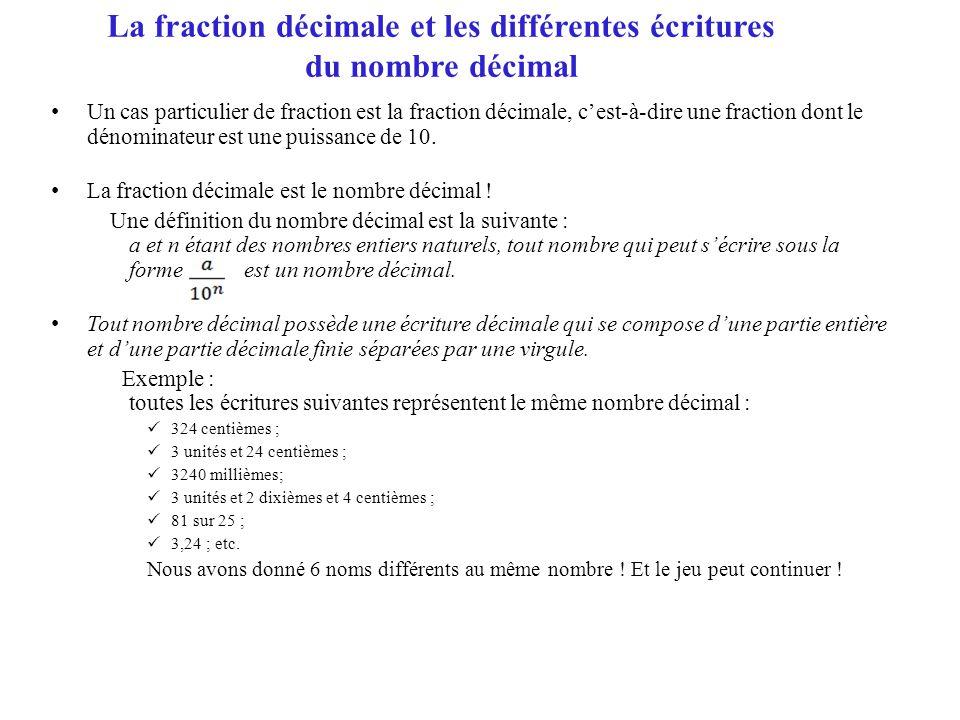 La fraction décimale et les différentes écritures du nombre décimal • Un cas particulier de fraction est la fraction décimale, c'est-à-dire une fracti