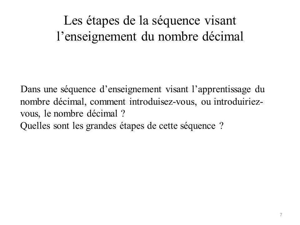 Les étapes de la séquence visant l'enseignement du nombre décimal Dans une séquence d'enseignement visant l'apprentissage du nombre décimal, comment i