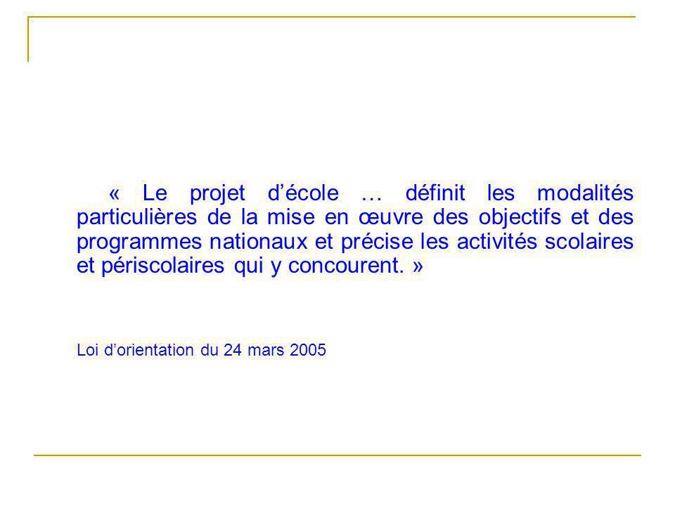 « Le projet d'école … définit les modalités particulières de la mise en œuvre des objectifs et des programmes nationaux et précise les activités scolaires et périscolaires qui y concourent.