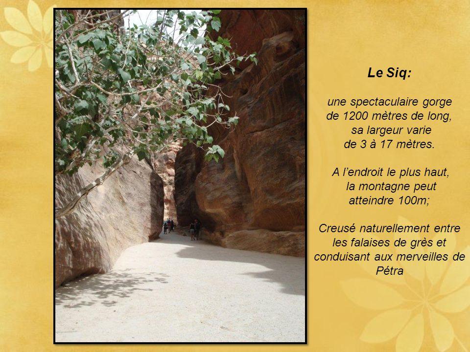 Pétra: une merveille géologique. Chemin menant à l'entrée du site : le Siq