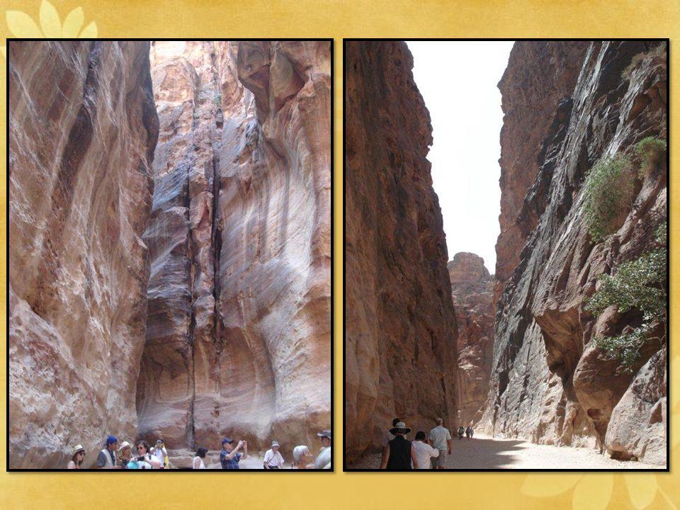Le Siq: une spectaculaire gorge de 1200 mètres de long, sa largeur varie de 3 à 17 mètres. A l'endroit le plus haut, la montagne peut atteindre 100m;