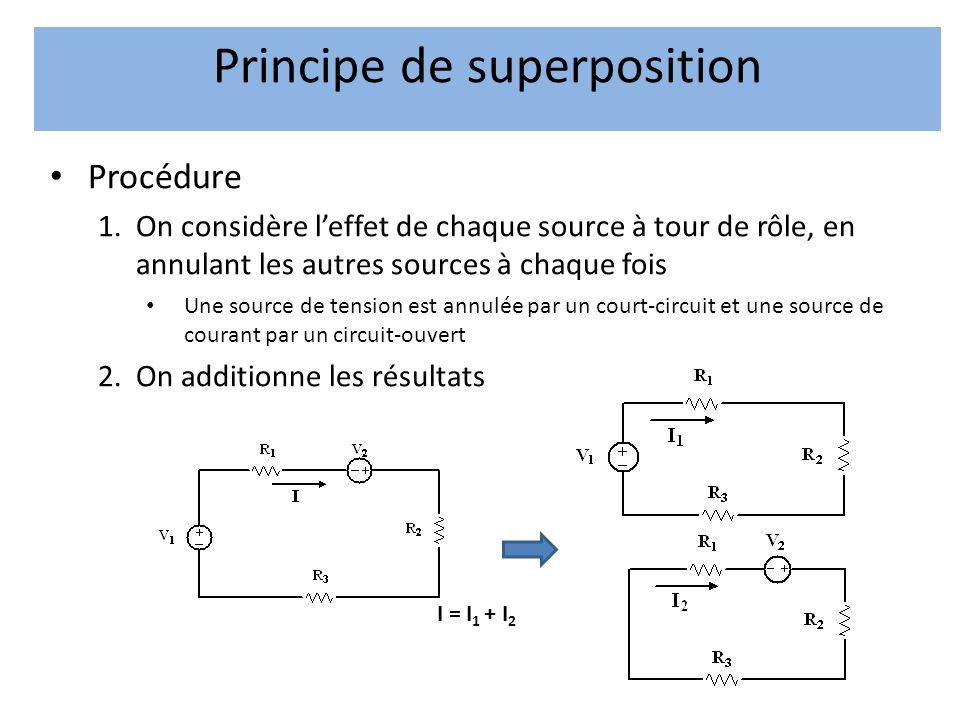 • Procédure 1.On considère l'effet de chaque source à tour de rôle, en annulant les autres sources à chaque fois • Une source de tension est annulée par un court-circuit et une source de courant par un circuit-ouvert 2.On additionne les résultats Principe de superposition I = I 1 + I 2