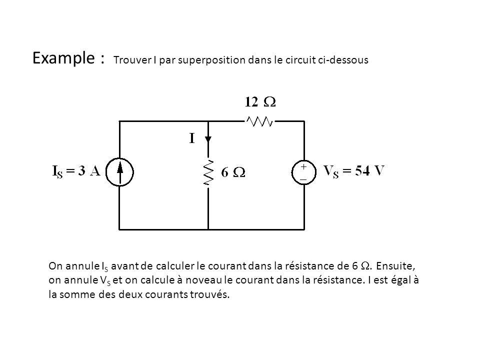 Example : Trouver I par superposition dans le circuit ci-dessous On annule I S avant de calculer le courant dans la résistance de 6 .