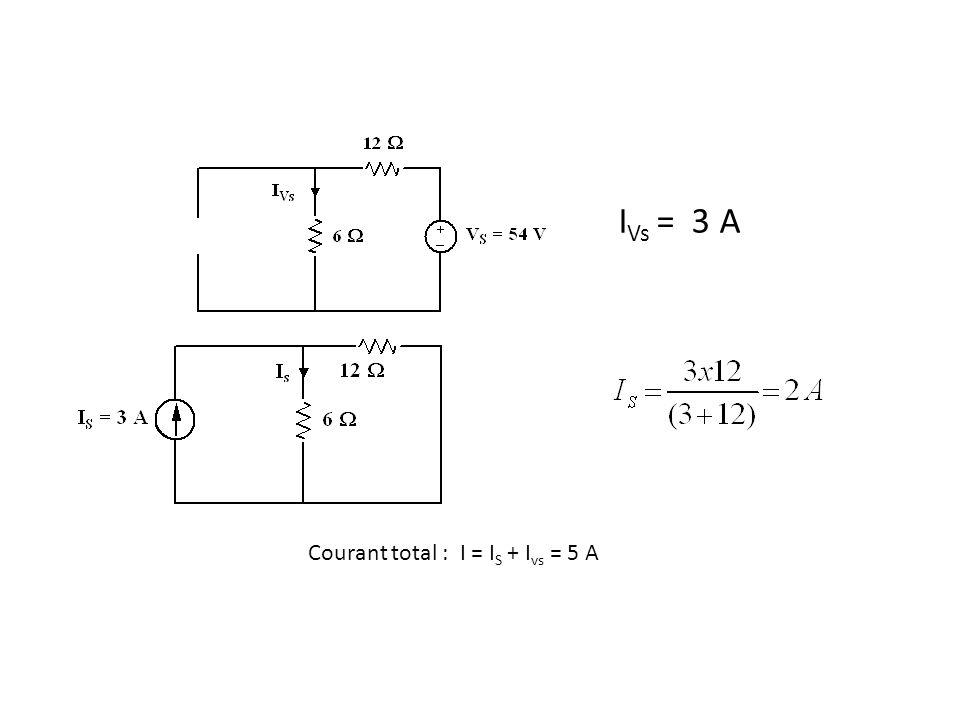 I Vs = 3 A Courant total : I = I S + I vs = 5 A