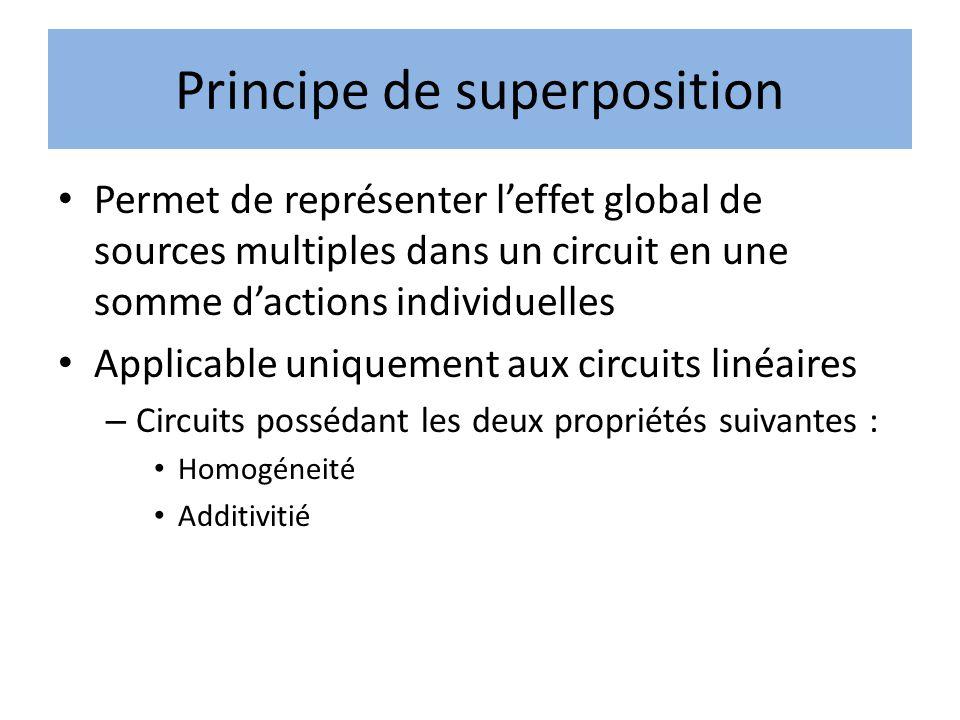 Principe de superposition • Permet de représenter l'effet global de sources multiples dans un circuit en une somme d'actions individuelles • Applicable uniquement aux circuits linéaires – Circuits possédant les deux propriétés suivantes : • Homogéneité • Additivitié