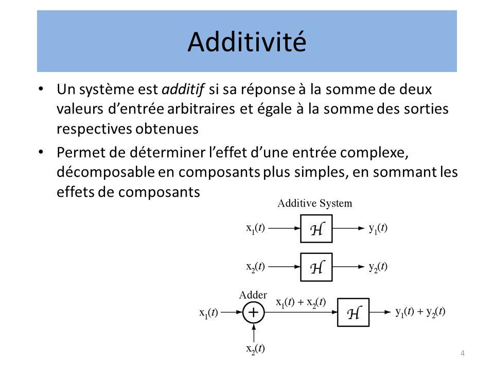 4 Additivité • Un système est additif si sa réponse à la somme de deux valeurs d'entrée arbitraires et égale à la somme des sorties respectives obtenues • Permet de déterminer l'effet d'une entrée complexe, décomposable en composants plus simples, en sommant les effets de composants