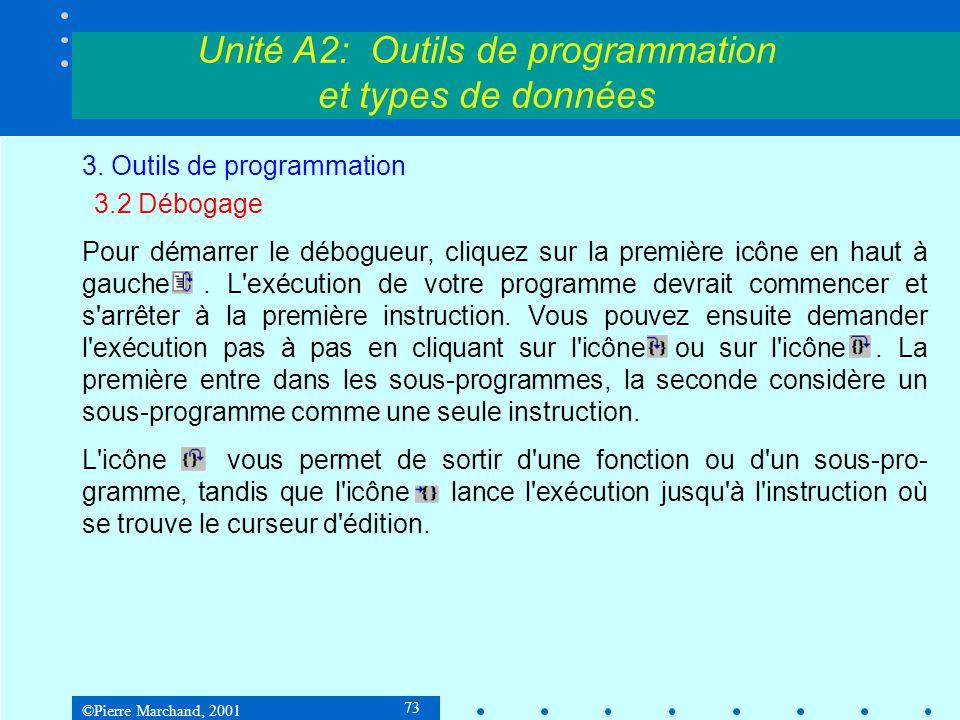 ©Pierre Marchand, 2001 73 Unité A2: Outils de programmation et types de données 3. Outils de programmation 3.2 Débogage Pour démarrer le débogueur, cl