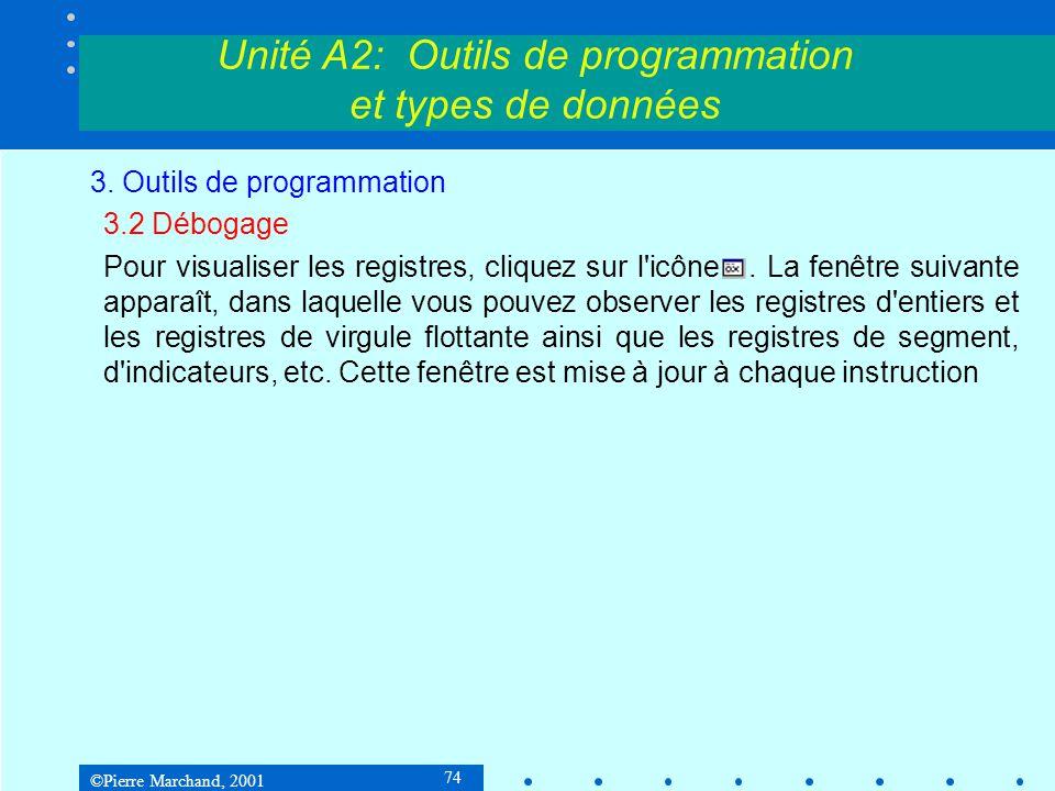 ©Pierre Marchand, 2001 74 Unité A2: Outils de programmation et types de données 3. Outils de programmation 3.2 Débogage Pour visualiser les registres,