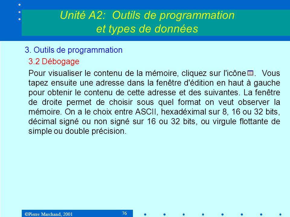 ©Pierre Marchand, 2001 76 Unité A2: Outils de programmation et types de données 3. Outils de programmation 3.2 Débogage Pour visualiser le contenu de