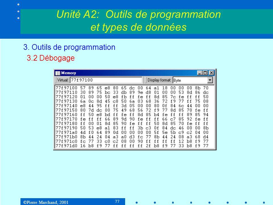 ©Pierre Marchand, 2001 77 Unité A2: Outils de programmation et types de données 3. Outils de programmation 3.2 Débogage