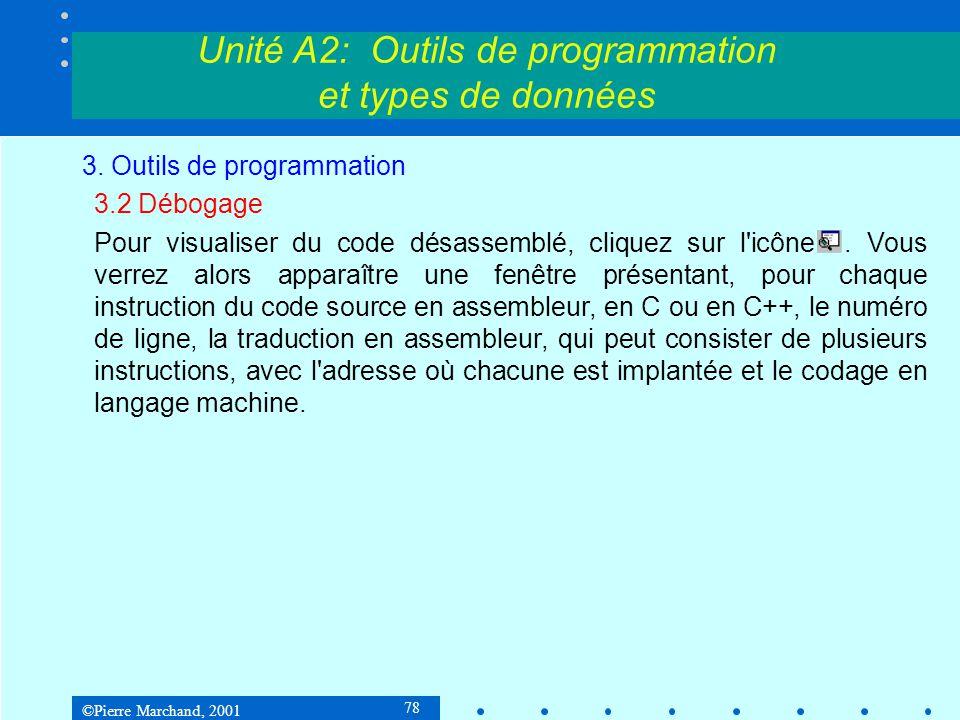 ©Pierre Marchand, 2001 78 Unité A2: Outils de programmation et types de données 3. Outils de programmation 3.2 Débogage Pour visualiser du code désass