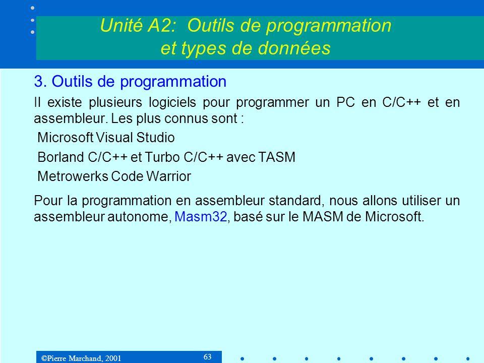 ©Pierre Marchand, 2001 63 3. Outils de programmation Il existe plusieurs logiciels pour programmer un PC en C/C++ et en assembleur. Les plus connus so