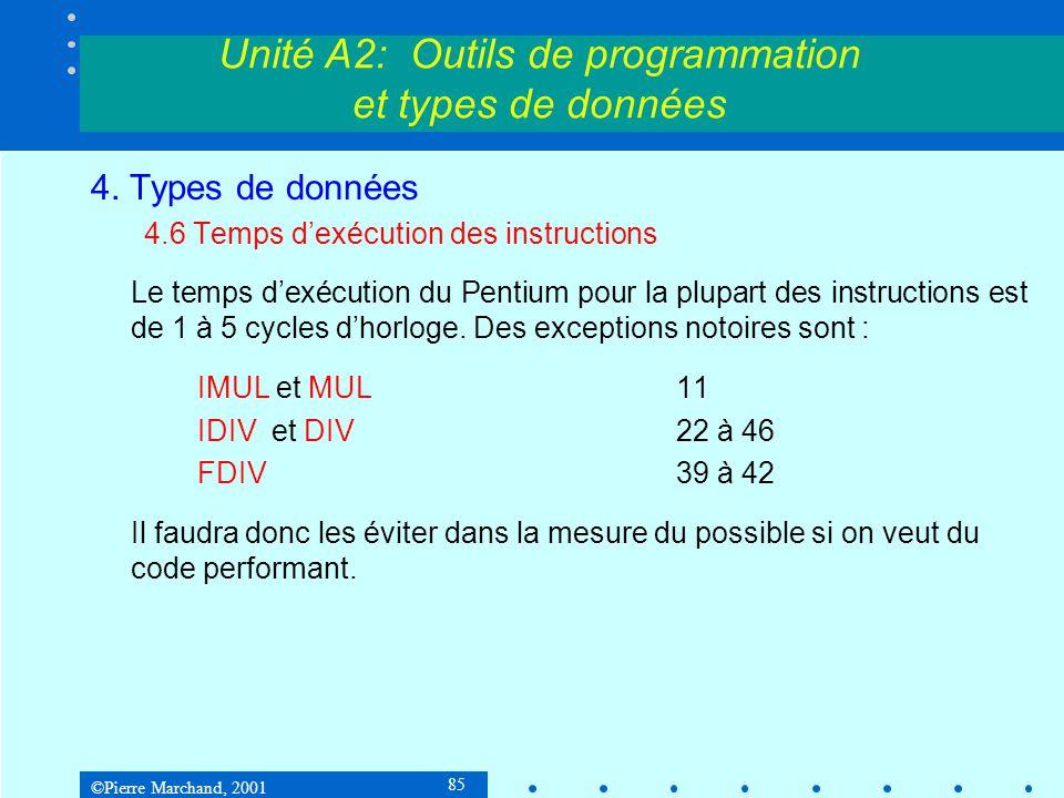 ©Pierre Marchand, 2001 85 Unité A2: Outils de programmation et types de données 4. Types de données 4.6 Temps d'exécution des instructions Le temps d'