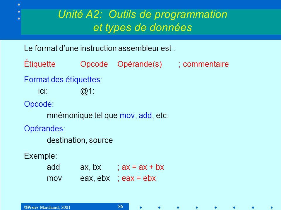 ©Pierre Marchand, 2001 86 Unité A2: Outils de programmation et types de données Le format d'une instruction assembleur est : ÉtiquetteOpcodeOpérande(s