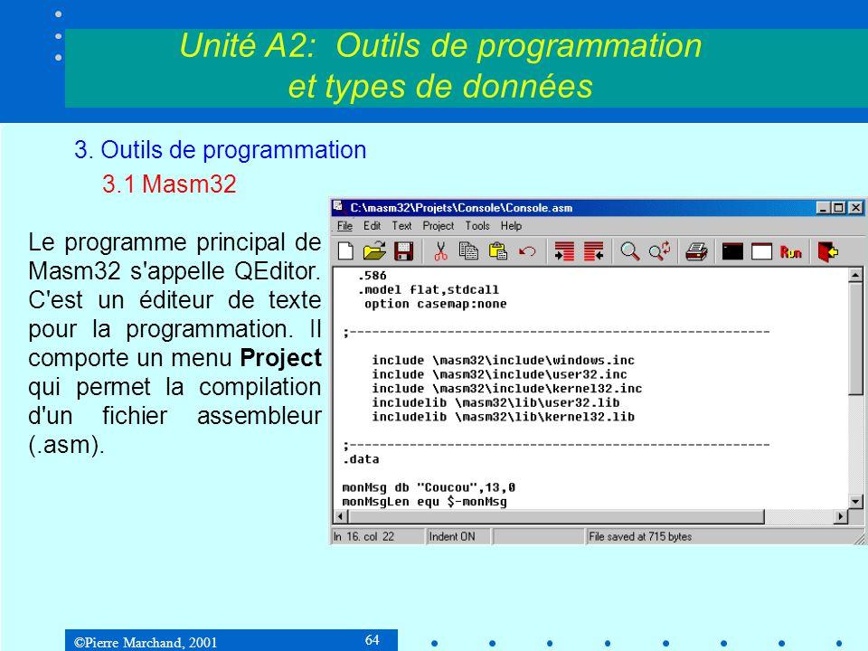 ©Pierre Marchand, 2001 64 Unité A2: Outils de programmation et types de données 3. Outils de programmation 3.1 Masm32 Le programme principal de Masm32