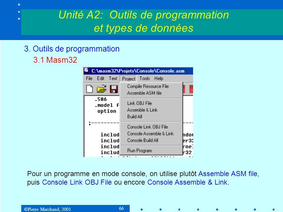 ©Pierre Marchand, 2001 66 Unité A2: Outils de programmation et types de données 3. Outils de programmation 3.1 Masm32 Pour un programme en mode consol