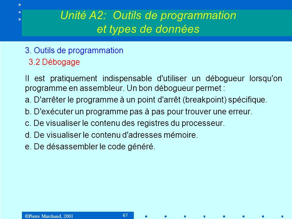 ©Pierre Marchand, 2001 67 Unité A2: Outils de programmation et types de données 3. Outils de programmation 3.2 Débogage Il est pratiquement indispensa