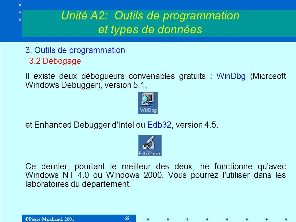 ©Pierre Marchand, 2001 68 Unité A2: Outils de programmation et types de données 3. Outils de programmation 3.2 Débogage Il existe deux débogueurs conv