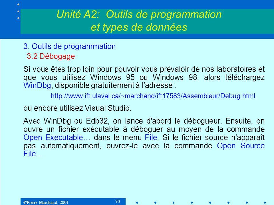 ©Pierre Marchand, 2001 70 Unité A2: Outils de programmation et types de données 3. Outils de programmation 3.2 Débogage Si vous êtes trop loin pour po